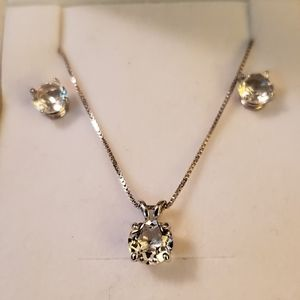 NEW! White Topaz Silver Necklace Earring Set